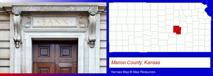 a bank building; Marion County, Kansas highlighted in red on a map