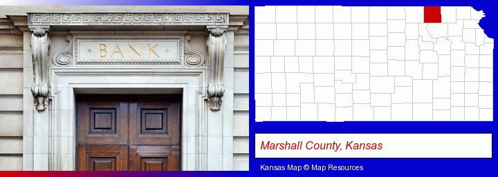 a bank building; Marshall County, Kansas highlighted in red on a map