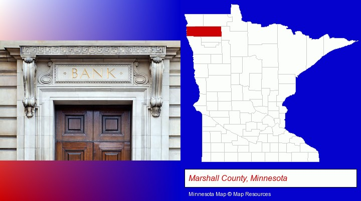 a bank building; Marshall County, Minnesota highlighted in red on a map