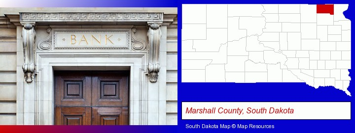 a bank building; Marshall County, South Dakota highlighted in red on a map