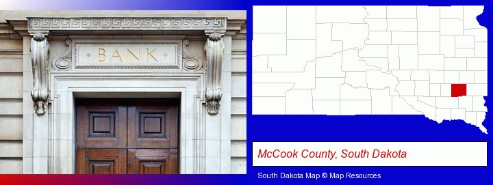 a bank building; McCook County, South Dakota highlighted in red on a map