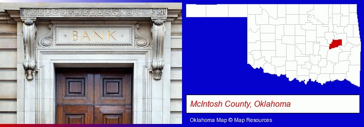 a bank building; McIntosh County, Oklahoma highlighted in red on a map