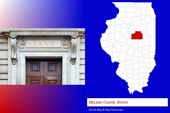 a bank building; McLean County, Illinois highlighted in red on a map