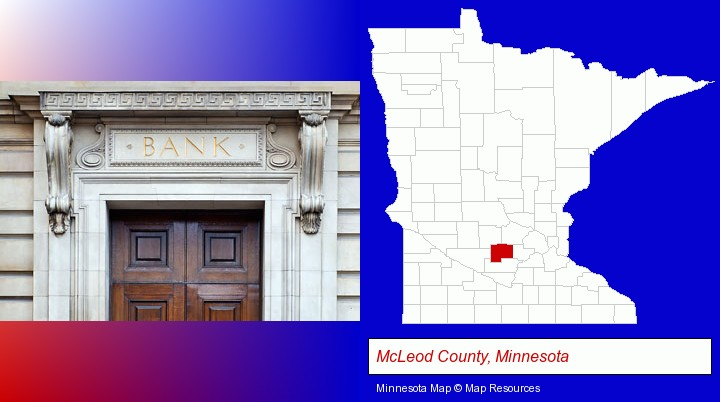 a bank building; McLeod County, Minnesota highlighted in red on a map