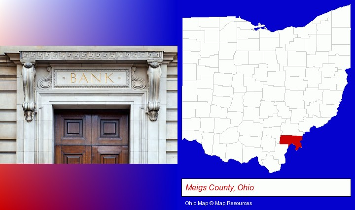 a bank building; Meigs County, Ohio highlighted in red on a map