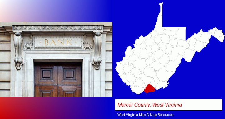 a bank building; Mercer County, West Virginia highlighted in red on a map