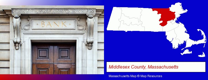 a bank building; Middlesex County, Massachusetts highlighted in red on a map