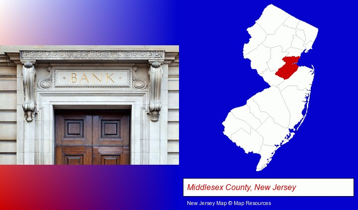 a bank building; Middlesex County, New Jersey highlighted in red on a map