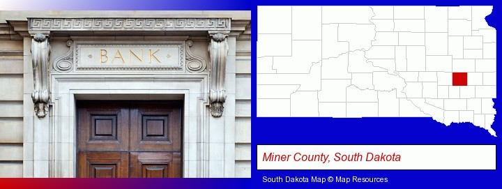 a bank building; Miner County, South Dakota highlighted in red on a map