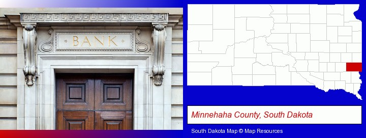 a bank building; Minnehaha County, South Dakota highlighted in red on a map