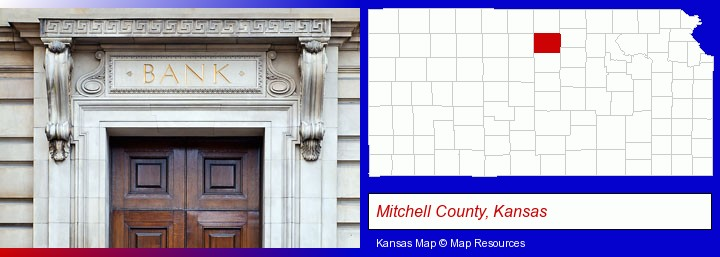 a bank building; Mitchell County, Kansas highlighted in red on a map