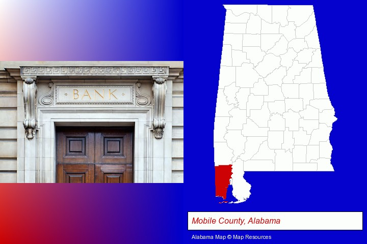 a bank building; Mobile County, Alabama highlighted in red on a map