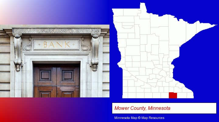 a bank building; Mower County, Minnesota highlighted in red on a map