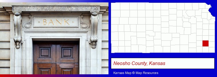 a bank building; Neosho County, Kansas highlighted in red on a map