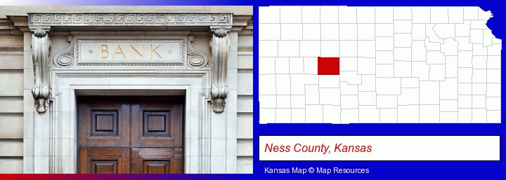 a bank building; Ness County, Kansas highlighted in red on a map