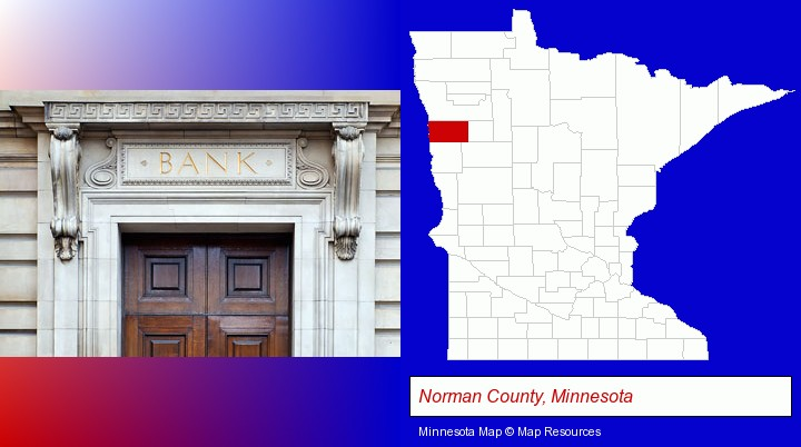 a bank building; Norman County, Minnesota highlighted in red on a map