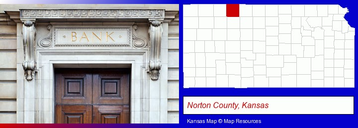 a bank building; Norton County, Kansas highlighted in red on a map