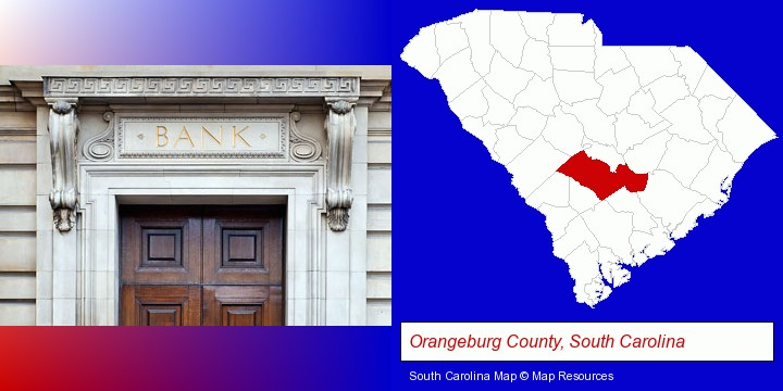 a bank building; Orangeburg County, South Carolina highlighted in red on a map