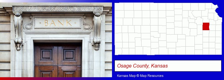 a bank building; Osage County, Kansas highlighted in red on a map