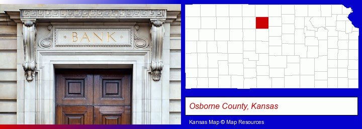 a bank building; Osborne County, Kansas highlighted in red on a map