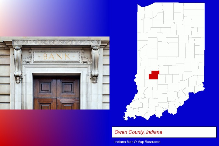 a bank building; Owen County, Indiana highlighted in red on a map