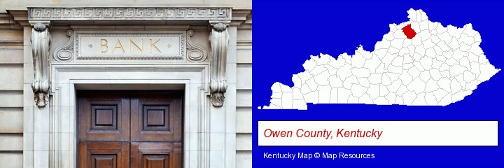 a bank building; Owen County, Kentucky highlighted in red on a map