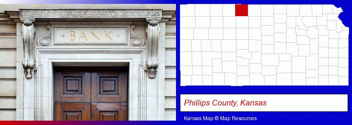 a bank building; Phillips County, Kansas highlighted in red on a map
