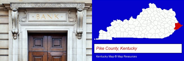 a bank building; Pike County, Kentucky highlighted in red on a map