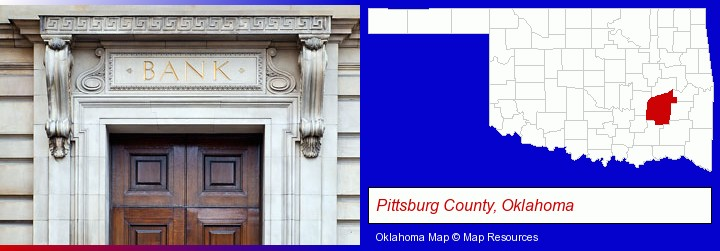 a bank building; Pittsburg County, Oklahoma highlighted in red on a map
