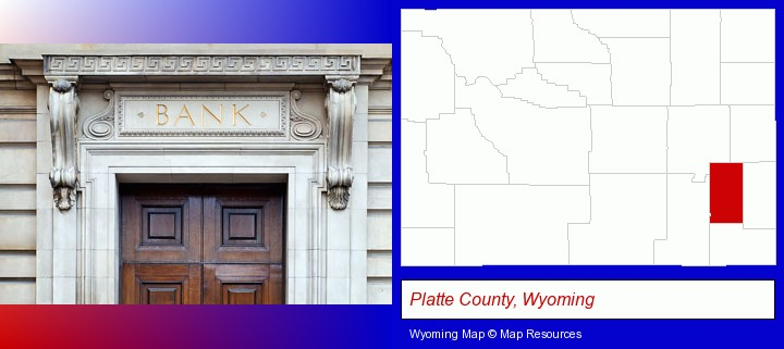 a bank building; Platte County, Wyoming highlighted in red on a map