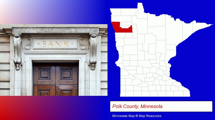 a bank building; Polk County, Minnesota highlighted in red on a map
