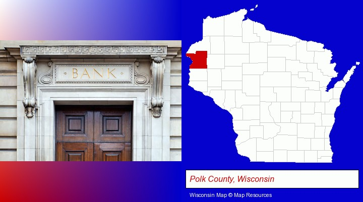 a bank building; Polk County, Wisconsin highlighted in red on a map