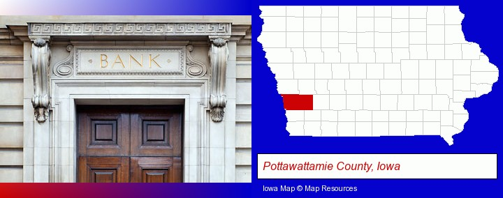 a bank building; Pottawattamie County, Iowa highlighted in red on a map
