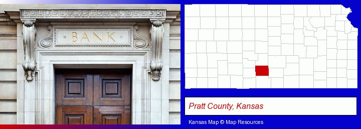 a bank building; Pratt County, Kansas highlighted in red on a map