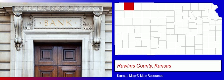 a bank building; Rawlins County, Kansas highlighted in red on a map