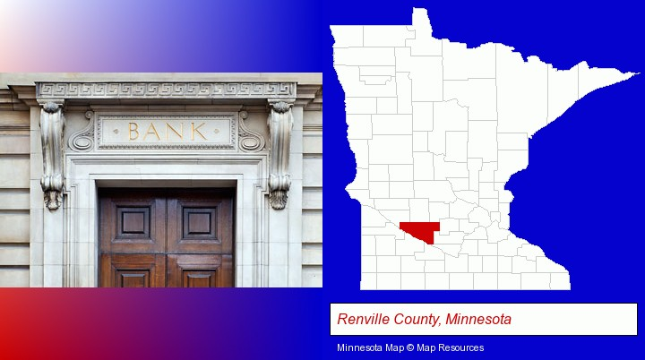 a bank building; Renville County, Minnesota highlighted in red on a map