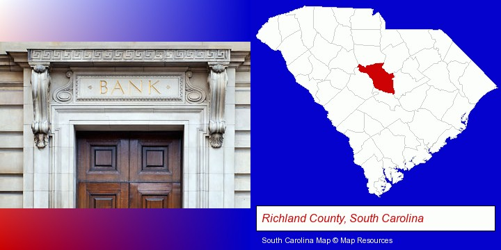 a bank building; Richland County, South Carolina highlighted in red on a map