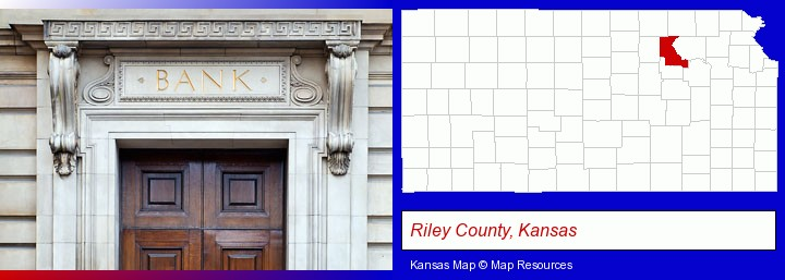 a bank building; Riley County, Kansas highlighted in red on a map