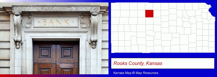 a bank building; Rooks County, Kansas highlighted in red on a map