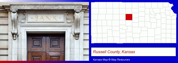 a bank building; Russell County, Kansas highlighted in red on a map