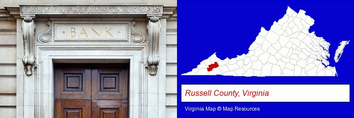 a bank building; Russell County, Virginia highlighted in red on a map