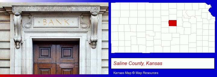 a bank building; Saline County, Kansas highlighted in red on a map