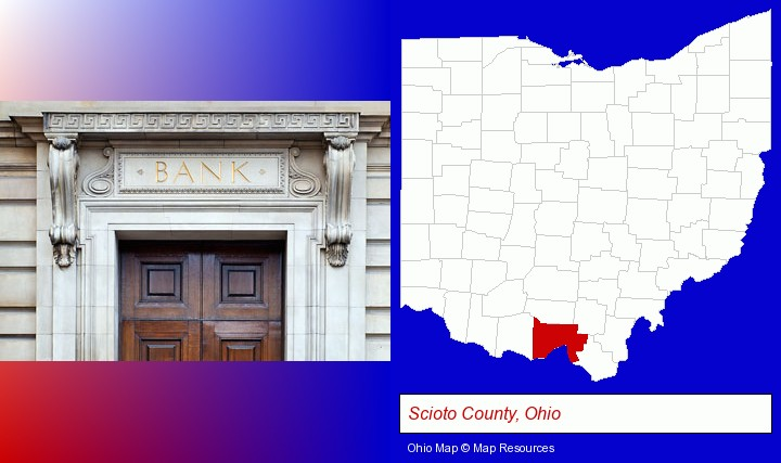 a bank building; Scioto County, Ohio highlighted in red on a map