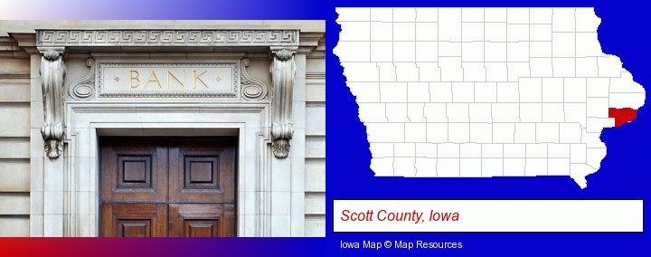 a bank building; Scott County, Iowa highlighted in red on a map