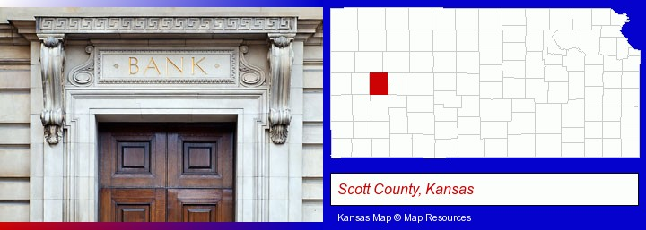 a bank building; Scott County, Kansas highlighted in red on a map