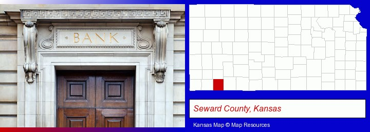 a bank building; Seward County, Kansas highlighted in red on a map