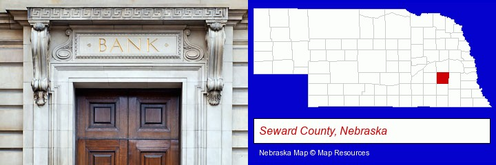 a bank building; Seward County, Nebraska highlighted in red on a map