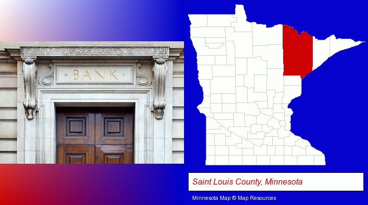a bank building; Saint Louis County, Minnesota highlighted in red on a map
