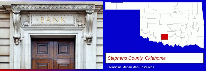a bank building; Stephens County, Oklahoma highlighted in red on a map