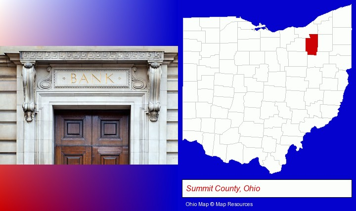 a bank building; Summit County, Ohio highlighted in red on a map